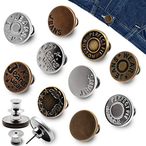 10PCS Instant Jeans Buttons, No Sew Metal Jeans Button, Removable Tack Buttons, Replacement Buttons Adds Or Reduces an Inch to Any Pants Waist in Seconds, Perfect Fit DIY Buttons