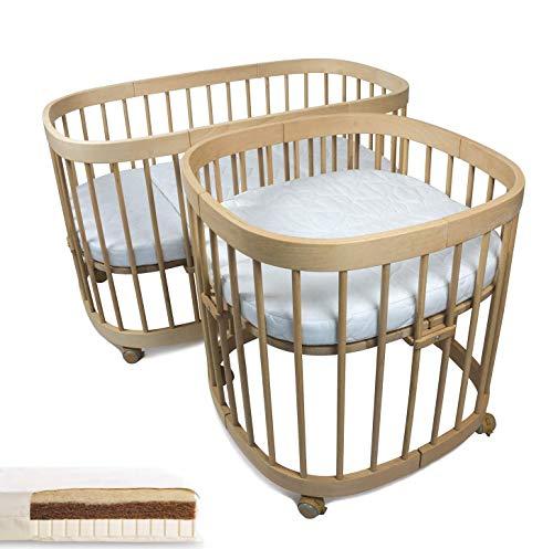 tweeto® Babybett Kinderbett 10-in-1 KOMPLETT-SET - 10 Funktionen inkl. 3-tlg. KOKOS-LATEX Matratze (Buche Natur)