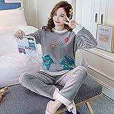 ZHRDRJB Conjunto De Pijamas para Mujeres,Invierno Grueso Caliente Franela Pijama Ropa De Dormir Manga Larga Cuello Redondo Jersey Dulce Hojas Preciosas Gris Coral Velvet Homewear Pyjamas Set,3XL