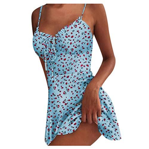 Dasongff Minikleid Sommer Damen Blumen Sommerkleid High Waist Volant Kleid Vintage Minikleid Volant Frill Strandkleid Spaghetti Bügel Blumenkleid