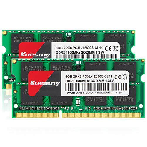Kuesuny 16GB Kit (2 x 8GB) DDR3/DDR3L 1600 MHz Sodimm Ram PC3/PC3L-12800S PC3/PC3L-12800 1,5 V/1,35 V CL11 204 Pin 2RX8 Dual Rank Nicht-ECC ungepufferter Speicher RAM Ideal für Notebook-Laptop-Upgrade
