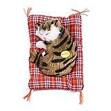 Gatti di simulazione Carino Gatto addormentato Giocattolo per bambini Peluche Giocattolo del suono Bambola di pezza Decorazione domestica Bambola di simulazione Bambola animale Regalo(Nero + Marrone)