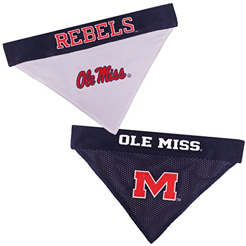 Pets First Collegiate Pet Accessories, Reversible Bandana, Mississippi Ole Miss Rebels, Large/X-Large
