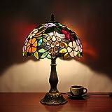 12 pulgadas pastoral Vintage flores magníficas vidrieras estilo Tiffany lámpara de mesa dormitorio lámpara de cabecera