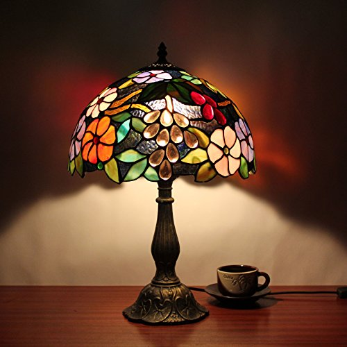 12 pulgadas pastoral Vintage flores magníficas vidrieras estilo Tiffany lámpara de mesa...