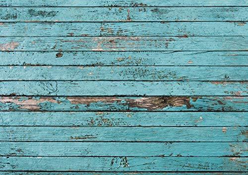 dv_042 Lot de 100 sets de table jetables, rectangulaires, en papier d'aspect bois bleu vieilli Format DIN A3