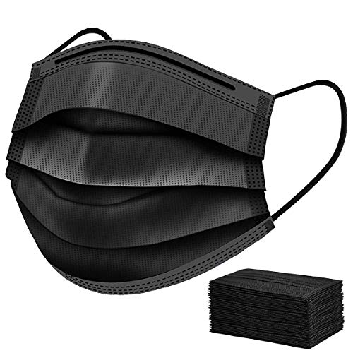 50 Pcs Disposable Black Face Mask Cover for Adults, Dustproof Filter Cover, Single Use 3 Ply Protectors with Elastic Earloops Dustproof Filter Cover