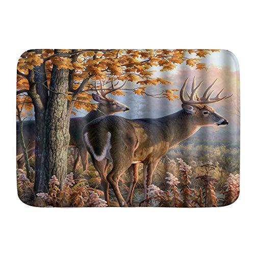 LUNASVT Bath Rug,Creative Whitetail Deer Paintings Retro,Non-Slip Classic Bathroom Mat 30
