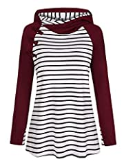 ♪Material:Made from high quality 95% Polyester + 6% Spandex and Excellent fit.It's stretchy and super soft against the skin.Burgundy colors may be a little fade. ♪Features:Long Sleeve Sweatshirts/Striped Spliced Hoodie/Hits at Hip/Ampersand Avenue Ho...