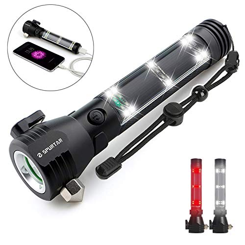 Solar Flashlight, Emergency Light USB Rechargeable Car Flashlight Solar Powered 2000mAh Super Bright 500 Lumen Tactical Power Bank with Window Breaker, Seat Belt Cutter, Compass for Traveling, Camping