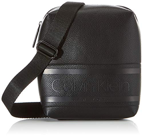 Calvin Klein heren Striped Logo Pu Mini Reporter schoudertas, 1x1x1 cm