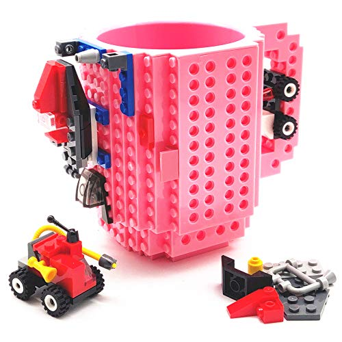 BUTLING Build-On Brick Mug, Unique Novelty Block Buddy Coffee Gifts Cup, for Halloween Easter Valentines Birthday Christmas, for Men Dad Him Kids Adults Boys, Compatible with Lego (Pink)