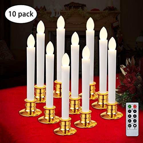 Joypea 10pcs Window Candles with Remote Timers Battery Operated Flameless LED Taper Candle Lights with Removable Tapers Pillar Candle Holders,for Home Wedding Party Christmas Decorations