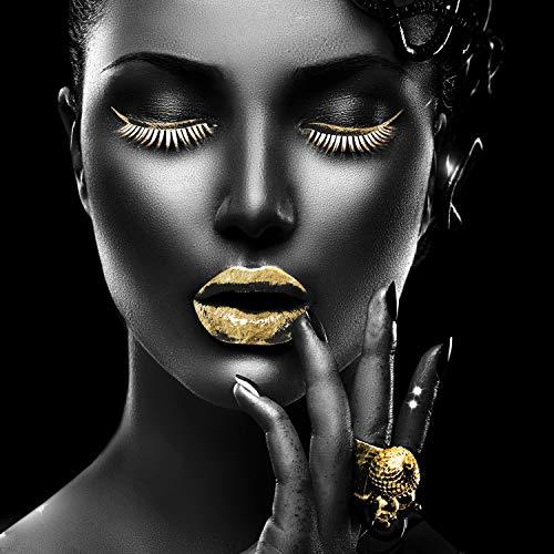 Queence | Acrylglasbild mit Blattgold | Wandbild Glasbild Acrylbild Rahmenlos | Goldene Lippen | Druck auf Acrylglas | Goldveredelung | Größe: 50x50 cm