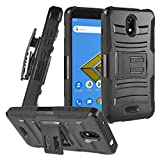 CELZEN - for Cricket Icon, Vision 2 (2020), Wiko Ride U300, AT&T Radiant Core U304A - Hybrid Phone Case w/Stand/Belt Clip Holster - CV1 Black
