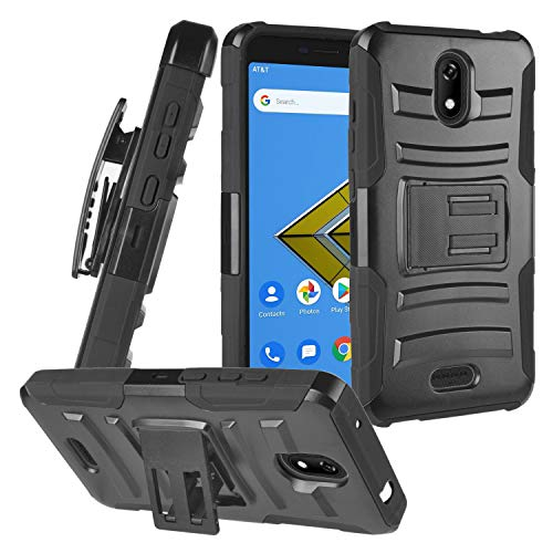 CELZEN - for Cricket Icon, Wiko Ride U300, AT&T Radiant Core U304A - Hybrid Armor Phone Case w/Stand/Belt Clip Holster - CV1 Black