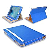 """MOFRED® Blue & Tan Apple iPad Air 2 (Launched 2014) Leather Case-Executive Multi Function Leather Standby Case for Apple iPad Air 2 with Built-in magnet for Sleep & Awake Feature - Voted #1 Best iPad Case by """"The Daily Telegraph"""" (iPad Models A1566 A1567)"""