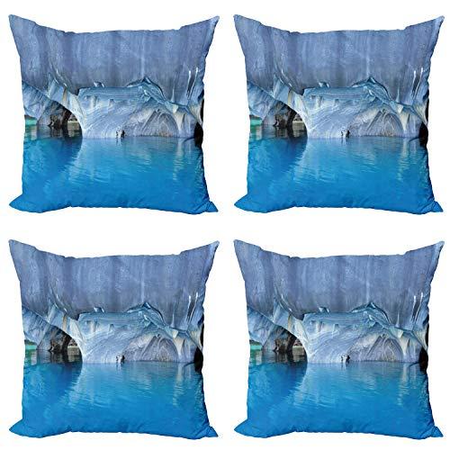 ABAKUHAUS Azul Set de 4 Fundas para Cojín, Mármol Cuevas Lago en Chile, Estampado Digital en Ambos Lados y Cremallera, 50 cm x 50 cm, Azul Purplegrey Blanca