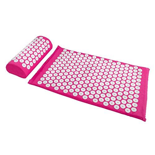 Akupressurset mit Tragetasche - Pink 2-teiliges Set - Massagekissen und Massagematte zur Schmerz Behandlung - Grinscard