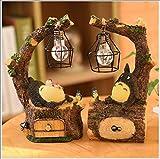 YHX Totoro Figur, Japanischer Anime Mein Nachbar Totoro Spirit Away Figuren Totoro Figur Mit Nachtlampe Licht Statue Modelle Puppen Für Hausgarten Dekoration Kinder Geschenk,2pcs Pack
