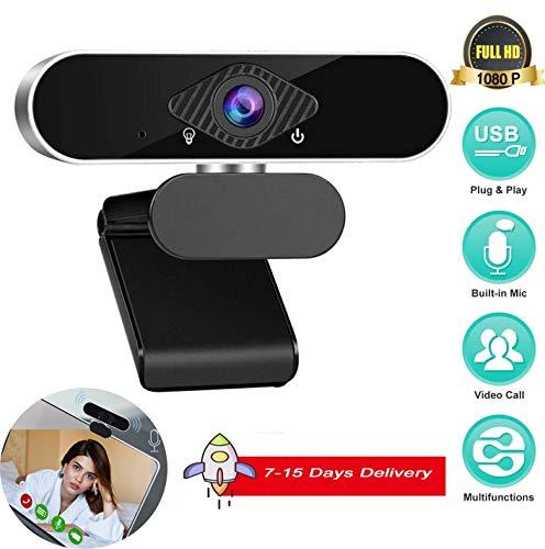 Full HD 1080P Webcam mit Mikrofon, PC-Webcam mit festem Fokus Laptop Plug & Play USB-Webcam Streaming-Computer-Webkamera, Desktop-Webcam für Videoanrufe Aufzeichnungskonferenzen