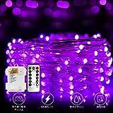 ストリングライト バレンタインデー 飾り 結婚式 パーティー 飾り ライトイルミネーションライト 電飾 10メートル 100 LED電球 電池式 LED ライト リモコン付き 室外 装飾 新年 (パープル)