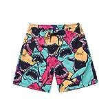 DOTBUY Costume da Bagno Uomo Pantaloncini da Spiaggia, Estivi da Stampa 3D Shorts da Mare Asciugatura Rapida Calzoncini Bermuda Running Shorts (L,Squalo colorato)
