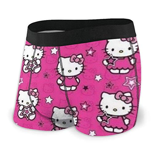 DWEO0JDWK Pink Cute Hello Kitty Herren Cotton Boxershorts 2 Pack-Medium Black