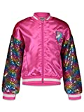 JoJo Siwa Little Girls Flip Sequin Long Sleeve Bomber Jacket, Pink 4/5