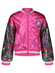 Nickelodeon Jojo Siwa full-zip pink bomber jacket Rainbow sequin printed sleeves; stylish contrast tippings on collar and waist Ribbed sleeve cuffs, collar and waist for a better fit Perfect for birthday gift, dress-up, outdoor play, and every day we...