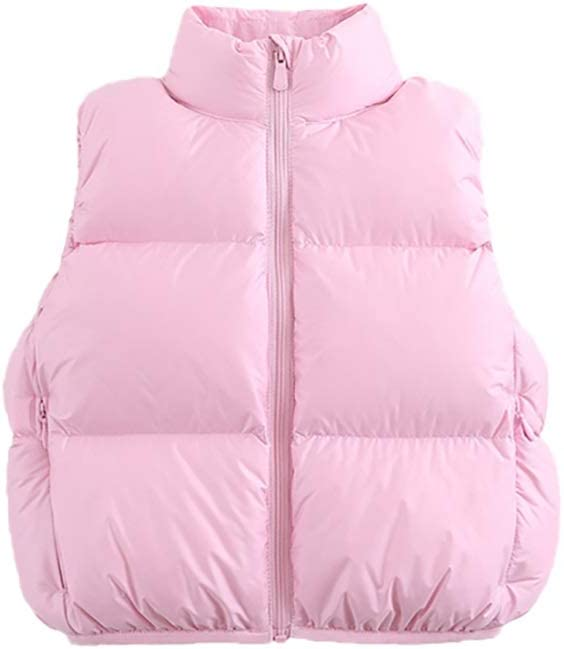 Jacket Coat Girls Boys Down Vest Zipper Puffer Sleeveless Outfit Casual Coat Fall Winter Outwear Gilet Outfit Vest Outerwear (Color : Pink, Size : XXXX-Large)