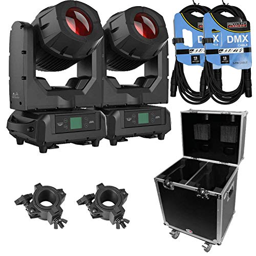 American DJ Hydro Beam X1 (Pair) – IP65 Moving Head Fixture + Prox Cases XS-MH140X2W 2X 140 Style Moving Head Light Case + Clamp and Cable