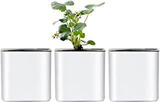 4 inch Self Watering Planter Foolproof Indoor Home Garden Modern Decorative Pot for Potting Smaller House Plants Herbs Suc...