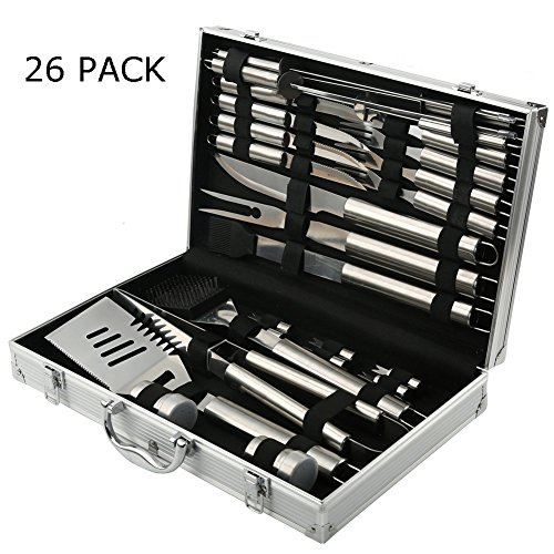 Read About BBQ Grill Tools Set With 26 Pieces Stainless Steel Barbecue Accessories Spatula Tong Knif...