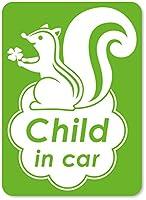 imoninn CHILD in car ステッカー 【マグネットタイプ】 No.36 リスさん (黄緑色)