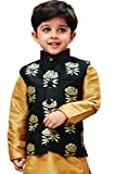 JBN Creation Boys' Black and Gold Silk Blend Nehru Jacket (VASBJBL006, for 2-3 Years)