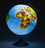 Exerz 25cm Relief AR GLOBE Cable Illuminated Free LED Light/ 3 in 1/ Day and Night - Physical/Political Dual Map Unique Embossment - Augmented Reality App iOS Android- Light up globe