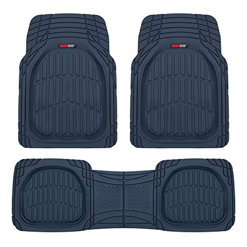 Motor Trend MT923 Premium FlexTough Floor Mats All-Protection-DeepDish Front & Rear Combo Set – w/Traction Grips for Car Auto Sedans SUVs Trucks (Charcoal Blue)