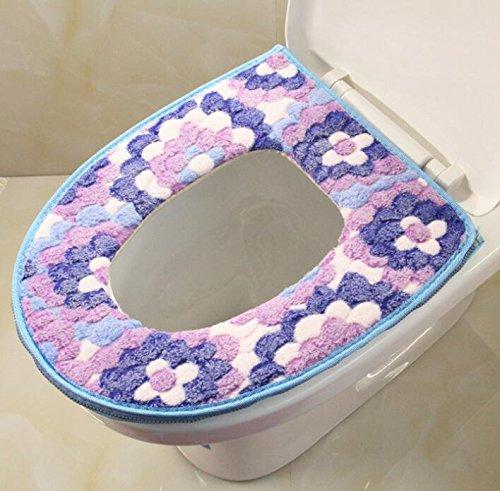 Ari_Mao Asiento de Inodoro Suave del hogar Asiento de Inodoro Lavable con Cremallera (Azul)