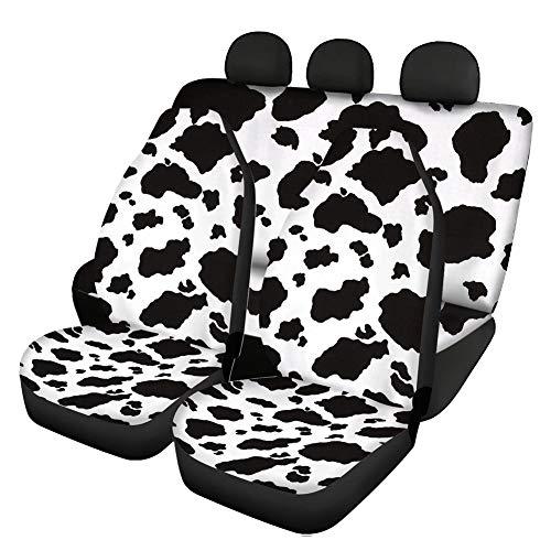 Woisttop Juego de 4 piezas de accesorios de coche con estampado de vaca, 2 fundas de asiento delantero de coche + 2 fundas de banco divididas para asiento trasero, juego completo universal