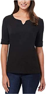 Ellen Tracy Women`s Pima Cotton/Lycra V-Neck Cuff Sleeves T-Shirt (S)