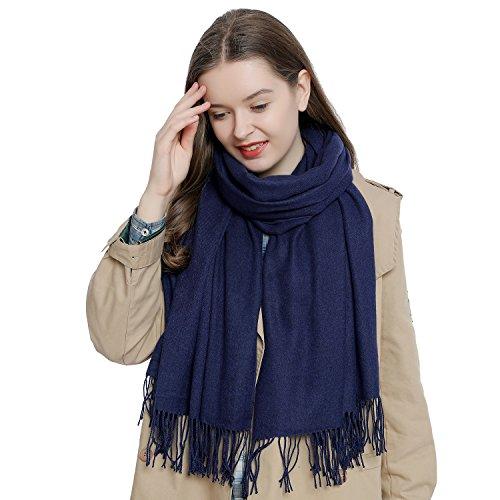 Bufanda de invierno grande para mujer 185 x 65 cm liso suave y cálido - azul oscuro