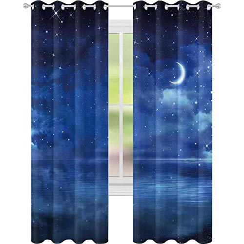 jinguizi Cortina opaca para ventana con diseño de estrella y mar, luna creciente, cielo (52 x 72 cm) para decoración de niños