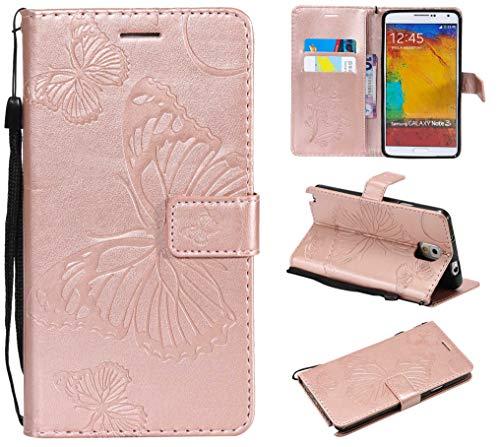 Samsung Galaxy Note 3 Hülle,THRION PU Schmetterling Brieftaschenetui mit magnetischer Handschlaufe und Ständerhalterung für Samsung Galaxy Note 3, Rosa Gold