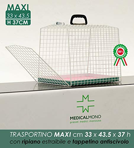MEDICALMONO Trasportino Piccoli Animali - Gatto, Cane - Gabbia in metallo Alta Qualità Portiera Singola. PRODOTTO IN ITALIA NO CINA. (L 33 x P 43.5 x H 37 cm)
