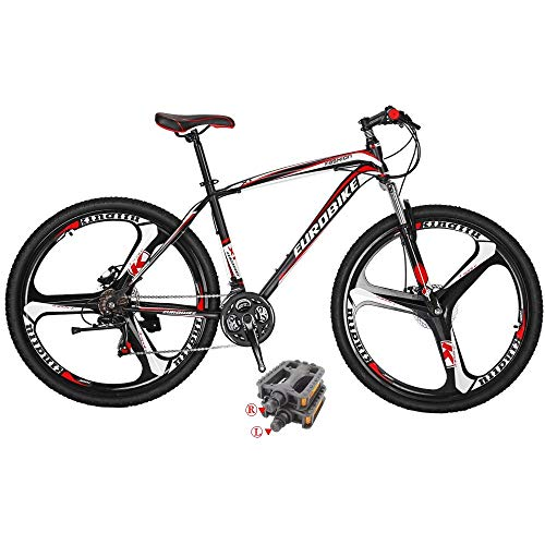 Eurobike Mountain Bikes X1 21 Speed Bicycle 27.5 Inches 3 Spoke Wheel Dual Disc Brake Bicycle Blackred