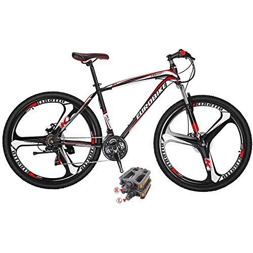 Eurobike Bikes HYX1 27.5 Inches 3 Spoke Wheels 21 Speed Mountain Bike Dual Disc Brake Bicycle Black Red