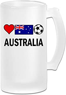 Australia Football Soccer Frosted Glass Stein Beer Mug - Personalized Custom Pub Mug - 16 Oz Beverage Mug - Gift For Your Favorite Beer Drinker