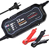 AUSDINAUTO Car Battery Charger, 2A 6V-12V 5000mA Quick Smart Trickle Battery Charger for Motorcycle Car Boat...