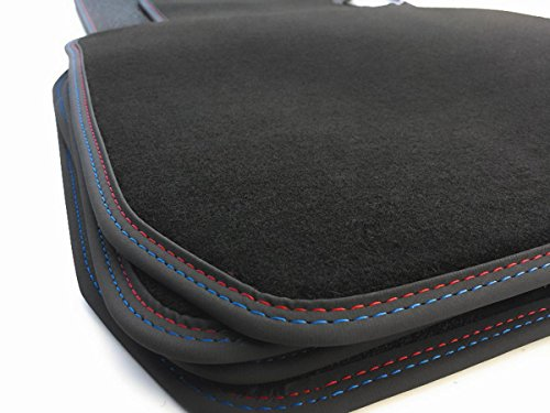 kh Teile Fußmatten E90 E91 M3 Velours Automatten Original Qualität Premium Doppelnaht M-Edition Schwarz Rot Blau